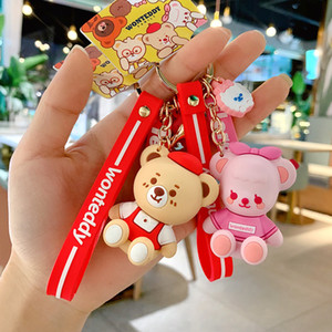 2019 Cute Anime Teddy Bear Doll Keychain Fashion Pendant for Women Girl Bag Keyring Jewelry Accessories Car Key Holder