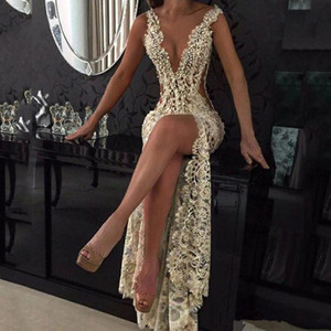 Wholesale hand saws for sale - Group buy 2020 Lace Deep V Neck Evening Gowns Sparkly Beaded Sheer Backless Mermaid Prom Dresses See Through Sweep Train Party Vestidos Custom Made