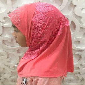 Wholesale H1383 new style small girl instant hijab with lace and rhinestones girls headwrap scarf