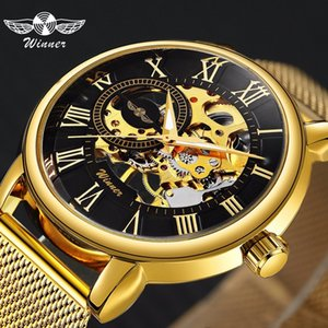 Winner Top Brand Luxury Ultra Thin Golden Men Mechanical Watch Mesh Strap Skeleton Dial Men Classic Business T-winner Wristwatch J190706