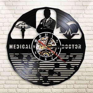 Wholesale Medical Doctor Vinyl Record Wall Light Hospital Doctor Office Decor MD Sign Longplay Wall Clock Residency Doctoral Graduate Gift
