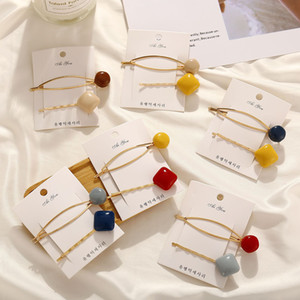 2pcs Female Europe and The United States Cross-border New Hairpin Ins The Same Paragraph Retro Pearl Ball Epoxy Hairpin Set