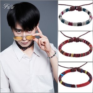 Wholesale F U Bohemia Bracelet Batik Fabric Color Printing Cloth Bracelet Charm For Women And Men Jewelry Color Available