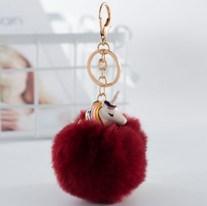 Wholesale New Design Cute cm Imitation Rabbit Fur Ball Unicorn Pendant New Electroplating Alloy Animal Beast Pony Pom Pom Keychain Hanging