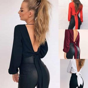 Wholesale New Fashion Women Casual Solid V Neck Long Sleeve Short Bow Tie Blouse Top Fashion New Women Top