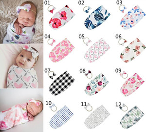 12 styles INS Newborn Floral Printed Sleeping Bag with Bow Headband 2pcs set Soft Baby Swaddle Wraps Blankets Baby Photographic Props 20