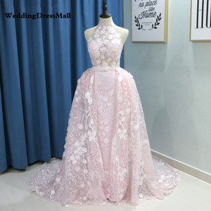 Saudi Arabic Blush Pink Detachable Skirt Evening Dress 2019 Elegant Sky Blue Lace Flora Dubai Prom Dresses Formal Party Gowns on Sale