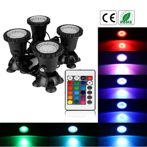AUCD DC12V 1A IP68 RGB Colorful 4 In 1 LED Aquarium Spotlight Set Fish Tank Pool Diving Landscape Lamp Static Dynamic Effects LED-4IN1-WL