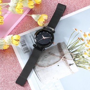 Stylish Women Quartz Watch Black Star Dial with Diamond Thin Stainless Steel Mesh Band Wristwatch Luminous Analog Watches on Sale