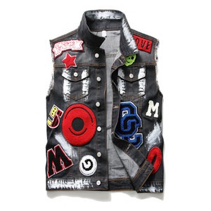 New Men's Denim Vest Men's Washed Embroidered Eagle Head Paint Foreign Trade Denim Clothes Men's 910 on Sale