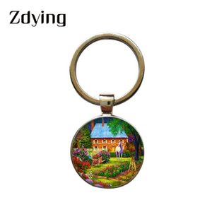 Wholesale ZDYING Fashion Flowers Garden House Art Painting Keychain Glass Cabochon White Horse Animal Keyring Car Bag Key Ring HS14