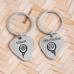 Wholesale Leaf Keychain Fashion Creative Beautiful Four Leaf Clover Steel oktoberfest wiesn Key Chain Jewelry Lover Couple Keyring car