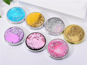 Wholesale Mini Makeup Mirror Compact Pocket Mirror Portable Double Sided Folding Cosmetic Mirror Female Gifts With flowing sparkling sand