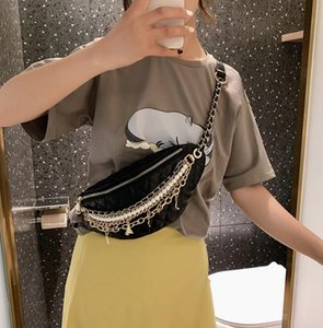 2019 new fashion women Embroider line chain Chest pockets ladies Single shoulder bag