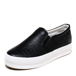 Platform Sneakers 2019 Spring Leather Thick Soled Ladies Casual Shoes Women Platform Shoes Woman Sneakers Female Sliver Black Slip-on Flats