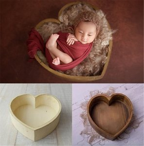 Baby Props For Photography Wooden Heart-Shaped Box Newborn Photography Accessories Posing Sofa Studio Shooting Props 39x39x15cm V191112