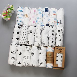 Wholesale Ins Maternity Newborn Muslin Swaddles Blanket Cute prints cotton Black white Stroller Cover Bedding Bath Towels layers cm