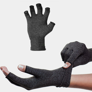 Man Women Solid Half Finger Black Carpal Tunnel Protective Tendonitis Elastic Arthritis Gloves Health Compression Pain Relief
