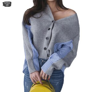 Wholesale Korean Style Women Sweater Winter And Autumn New V Neck Ladies Sweater Stripes Loose Wild Women Clothing