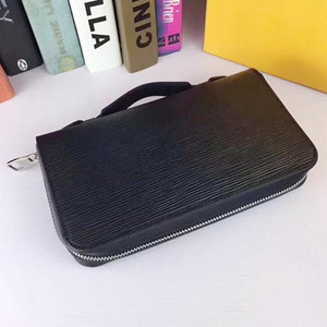 Wholesale New Zippy XL Wallet round zipper travel case Black Purse Men Real Epi Leather M61506 Brown Passport bag Holder designer Damier Ebene clutch