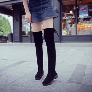 Wholesale Sexy Slim women Over The Knee High Boots flats Women Snow Boots Women Fashion Winter Suede Thigh High Boots casual Shoes Woman