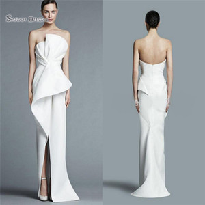 Unique Strapless White Satin Sheath Party Gown Prom Dress with Pleats Middle Split Women Formal Evening Dresses on Sale