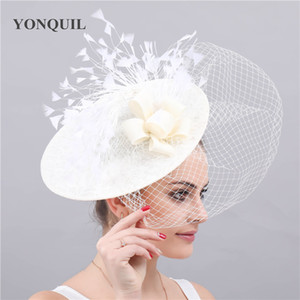 Wholesale Kenducky derby ivory fascinator wedding hats bridal veils headwear elegant ladies women chapeau caps party race headbands mesh