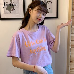 Wholesale 2019 Letter Printed White Purple T Shirt Women Casual Sweet Korean College Style Tshirt Femme Summer Girls Chic Top S XL