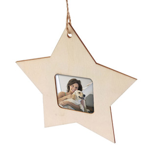 Wholesale Wooden Mini Photo Frame Star Shape Unfinished Picture Holder Frame Modern Style Party Home Decor Hanging Pendant Party Supplies