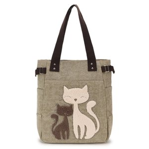 Wholesale Ladies Canvas Bag Women Shoulder Bags Female Cute Cat Handbag Casual Totes Lady College School Books Bag Shopping For Girls