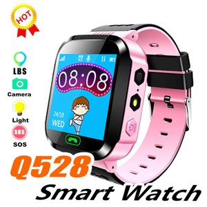 Wholesale 2019 Sport Q528 Kids Tracker Smart Watch with Flash Light Touchscreen SOS Call LBS Location Finder for kid Child PK Q50 GPS tracker in box