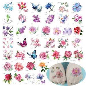 Wholesale rose hand tattoos resale online - 40Pcs Flower Temporary Tattoos for Women Kid Hand Rose Butterfly Tattoo Sticker Fashion Body Art Waterproof Arm Fake Tatoo Paper