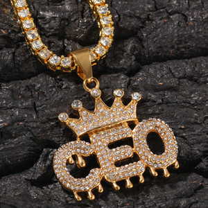 Wholesale gold pedant for sale - Group buy New personalized Gold Diamond Mens Crown CEO Initial Letters Pedant Cuban Chain Necklace Bling Diamond Hip Hop Jewelry Gifts for Men
