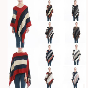 Women Striped Tassel Poncho Sweater Knit Scarf Wrap Loose Shawl Vintage Scarves Cloak Coat Girls Winter Warm Cape Clothes 9 Styles