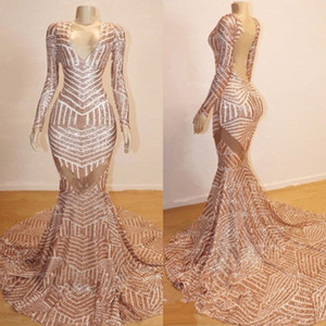 Wholesale sexy modest prom dresses for sale - Group buy Sparkly Rose Gold Mermaid Long Sleeve Prom Dresses Modest V neck Luxury Sequins Fishtail African Sexy Occasion Evening Formal Gowns