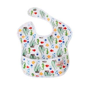 Baby Bibs Cute Cartoon Pattern Toddler Baby Waterproof Towel Reusable Bibs with Pocket Fit 0-3 Years Old Infant Burp Cloths Feeding on Sale