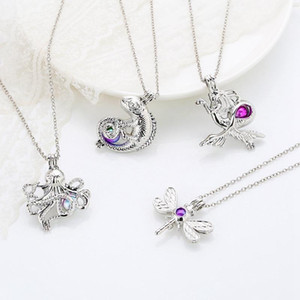 Wholesale New Cage Pendant Necklace Fashion Lizard Dragon Octopus Owl Dragonfly Geometry Charms Locket DIY Diffuser Necklace For Women Gift