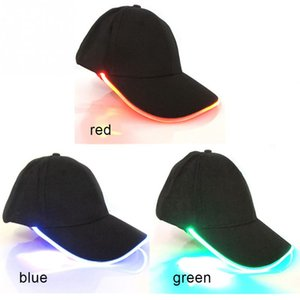Wholesale light baseball cap resale online - Design LED Lighting Hat Party Decoration Baseball Hip Hop Light Caps Adjustable Fabric Hat Glow Cap Led Toy