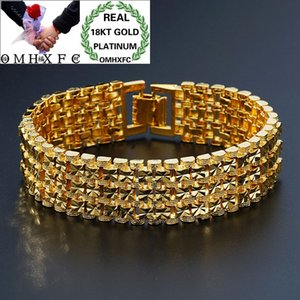 Wholesale OMHXFC European Fashion Man Male Party Birthday Wedding Gift Vintage Wide Watch Chain KT Gold Bracelets BE165