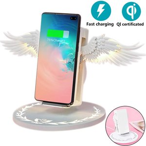 Wholesale Phone Wireless Charger Angel Wings W Fast Charging with Night Light Phone Holder Universal cellphone For sumsang iPhone huawei on stock