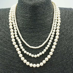 Wholesale Shell Pearl Necklace Jewelry Round White Natural Sea Shell Pearl Necklace Fashion Wedding Fake Faux pearl beads Necklaces