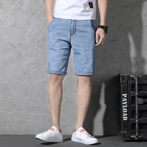 Wholesale 2019 Blue Dark Grey Hot Summer Denim Men Short Jeans Designer Casual Distressed Knee Length Trouers Plus Size