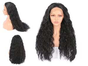 Wholesale Women Long curly Lace front wigs piece Black Synthetic Silky Hair Wigs inch High quality Factory direct