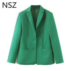 Wholesale NSZ Women Solid Green Blazer Long Sleeve Notched Single Breasted Office Work Business Jacket Pocket Decoration Coat Outerwear