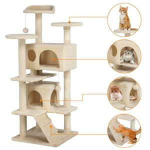 "Wholesale Cat Tree Furniture Kitten House Play Tower Scratcher 51"" Beige Condo Post Bed"