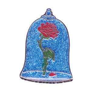 Wholesale Glass rose badges blue glitter pins disenchanted roses flower brooch surreal art jewelry wonderful surprise Valentine gift
