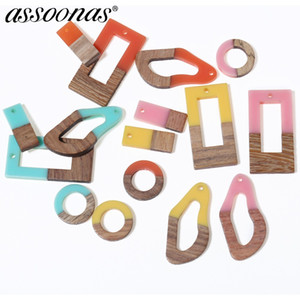 Wholesale assoonas M301 nature wood acrylic earrings charms diy pendant jewelry hand made jewelry findings earrings accessories diy