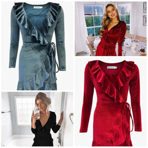 V Collar Dress 3 Colors Velvet Irregularity Lotus Leaf Edge Long Sleeves Dresses Fashion Women Home Clothing29ze E1