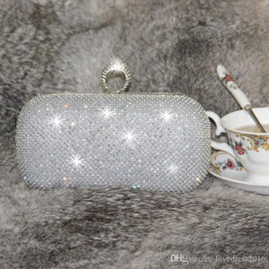 Wholesale Bling Bling SilverGold Bridal Hand Bags Fashion Crystal Beaded Ring Women Clutch Bags for Special Party Evenings Formal Occasion Knucklebox
