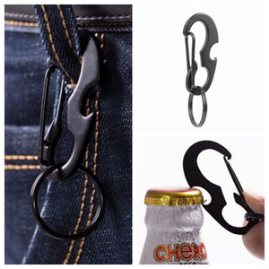 Wholesale Outdoors Portable Carabiner Type D Buckle Metal Fast Fastening Key Ring Bottle Opener Spring Hook Multi Function Outdoor Gadgets ZZA1052